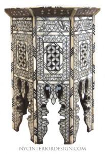 Black & bone inlay moroccan table