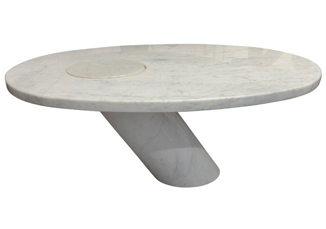 ovala white marble coffee table