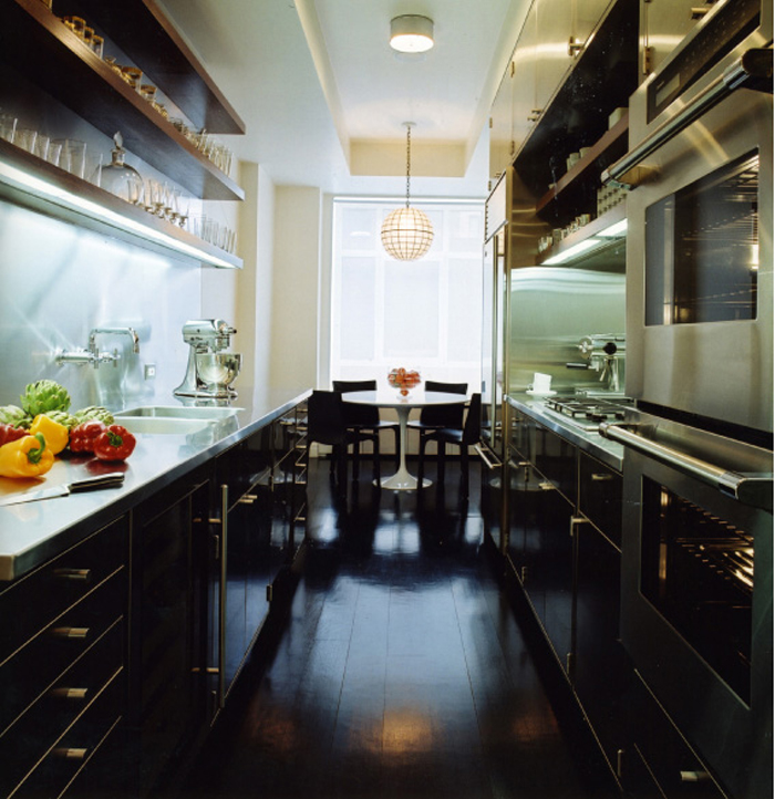 black wood floors_ kitchen