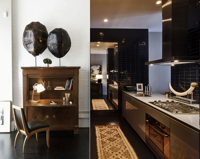 dark wood floors _ study & kitchen