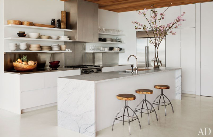kitchen design with white marble countertops