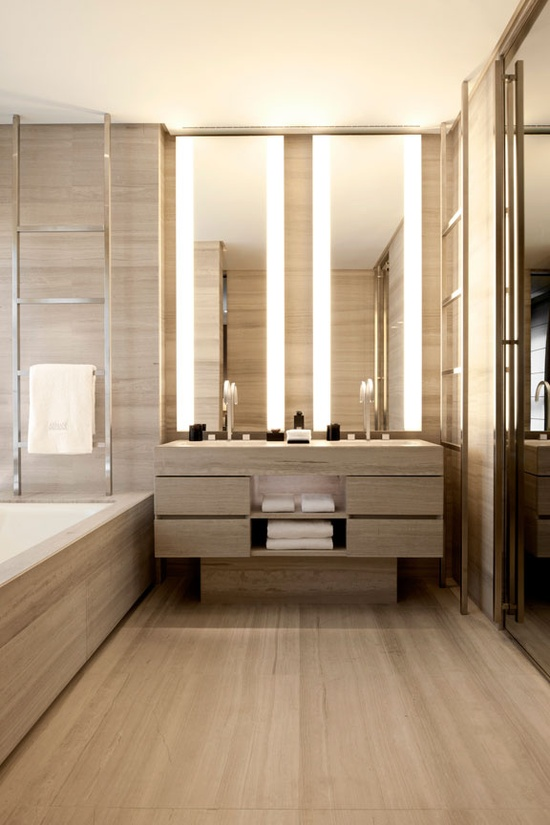 natural stone bathroom - Armani Hotel